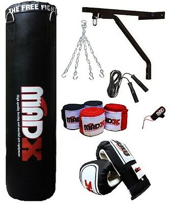 MADX 7 Piece 5ft Boxing Set UNFILLED  Punch Bag Gloves,Chain,Bracket,Kickbag