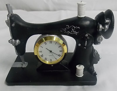 Antique Sewing Machine with Miniature Clock