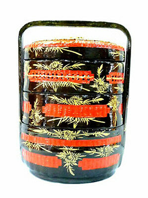 Chinese Hand-Woven Hand-Painted Triple-Tier Wedding Basket