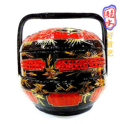 Chinese Hand-Woven Hand-Painted Double-Tier Wedding Basket