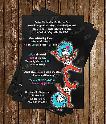 Dr Seuss Thing 1 And 2 Birthday Invitations