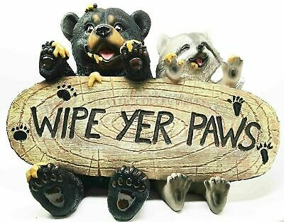Black Bear and Raccoon Welcome Sign Wipe Your Feet Outdoor Patio Home Decor Gift