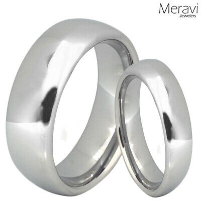 His & Hers Tungsten Silver Polish Dome Mens Womens Promise Ring Wedding Band SET
