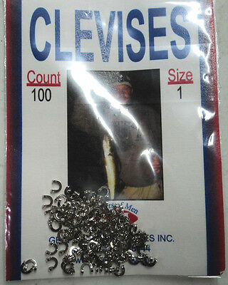 Clevises Size 1, TWO Packs of 100, Folded Nickel, Perch Rigs/Flutter Snells #C1