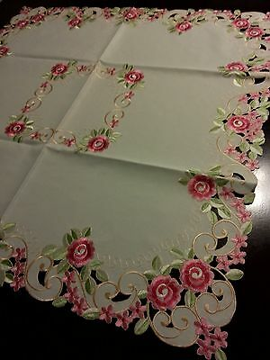 """33"""" Square Embroidered Tablecloth Pink French RosesTable Topper Home Decor"""