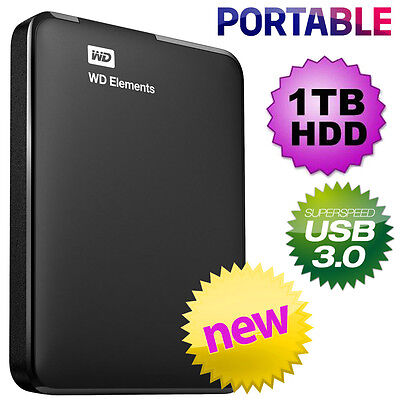 Western Digital WD 1TB Elements USB 3.0 & USB 2.0 Portable HDD Hard Drive NEW
