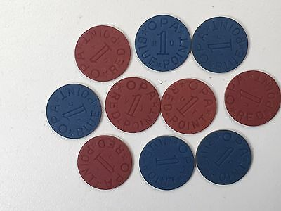 Lot 10 Wwii Blue & Red Ration Tokens Mint Condition Uncirculated Unc