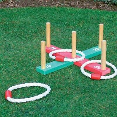 Garden Quoits Game Outdoor Family Games Wooden Pegs and Ropes Hoopla Kids Toy