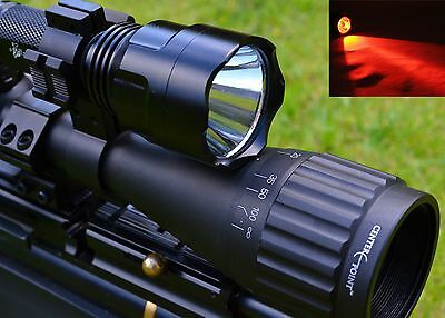 LED Red Beam Air Rifle Hunting Light Kit By Ultrafire Scope Mount Night Vision