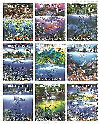 Kyrgyzstan Stamps 1999 Aquatic marine and freshwater habitats fish animals / MNH