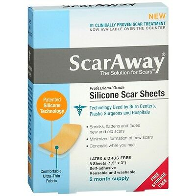 ScarAway Silicone Scar Treatment Sheets, 1.5 x 3 inch 8 ea