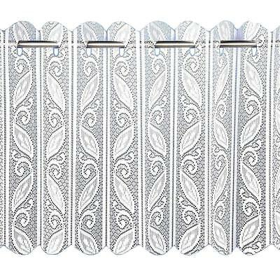 White Lace Pleated Vertical Folding Blind Floral Leaves Net Panel  Free Postage
