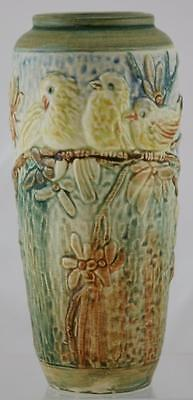 "Weller Glendale 9"" Vase W/baby Chickadees Perched On A Blossom Branch Mint"