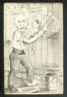 Artist Molynk french political comic postcard (72802