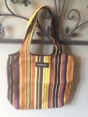 Longaberger Reversible Autumn Stripe Small Grocery Tote