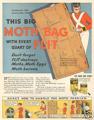VTG 1930's FLIT Moth Bag Insecticide POISON Insect Bug Killer TOY SOLDIER Art Ad