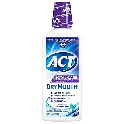 ACT Total Care Dry Mouth Anticavity Mouthwash, Soothing Mint 18 oz (Two Bottles)