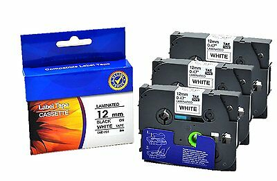 3x Brother TZe-231 Compatible Laminated 12 mm x 8 m Tape Cassette Black on White