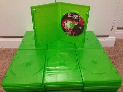 6 Standard Green Single DVD Cases, Premium Cases, holds 1 Disc, 14mm