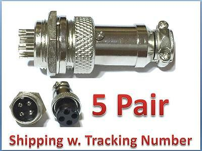 5Pair Aviation Plug 4 Pins Male Female Panel Metal Wire Connector 16mm GX16-4