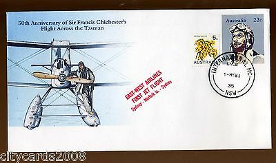 1983 AUSTRALIA/NORFOLK Is  Chichester Cover + East -West Airlines 1st Jet Flight