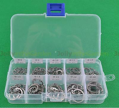 100X Stainless Steel Internal Circlip Retaining Ring Assortment Kit 8mm to 18mm