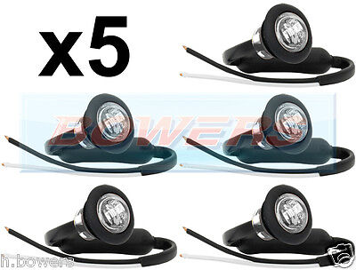 5x 12V/24V FRONT WHITE/CLEAR SMALL ROUND LED BUTTON MARKER LAMP/LIGHTS UNIVERSAL