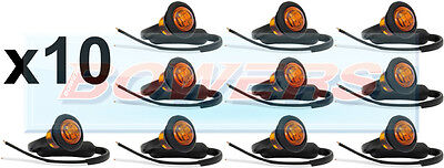 10 x 12V/24V AMBER SMALL ROUND LED BUTTON SIDE MARKER LAMPS/LIGHTS UNIVERSAL