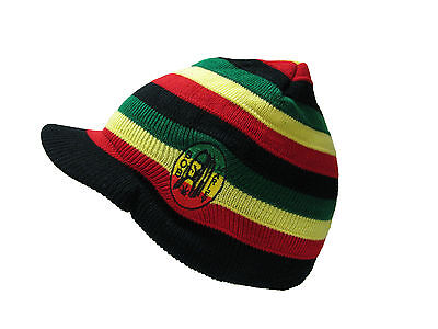 Adult Mens Jamaican Rasta Hat Peaked Bob Marley Knitted Winter Beanie 5 Colours
