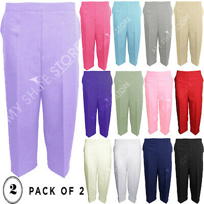 Ladies Womens 3/4 Three Quarter Length Trousers Capri Cropped Crop Plain Pants