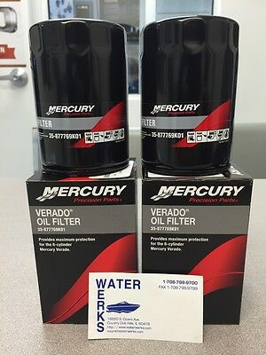 Mercury 4-Stroke VERADO Oil Filter 35-877769K01 *OEM* 200 HP-300 HP (2-Pack)