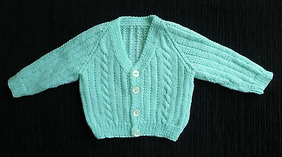 Baby clothes BOY GIRL 3-6m aqua professionally handmade cardigan SEE MY SHOP!