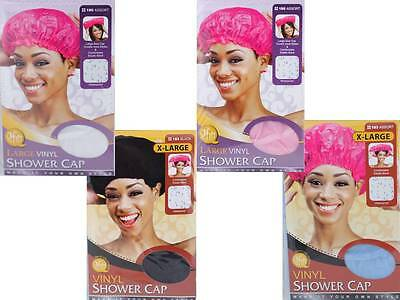 1 Piece Waterproof Shower Cap Vinyl Large or X-Large with Elastic Band 4 Colors