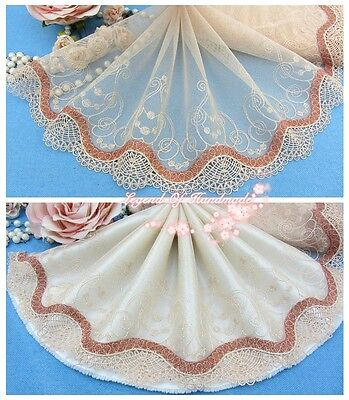 "8""*1Y Embroidered Floral Tulle Lace Trim~Golden Tan+Copper~Shining Stage~"