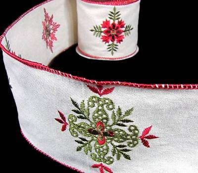 """PBTY Old Fashioned Christmas Antique Quilt Look Embroidered Wired Ribbon 4""""W"""