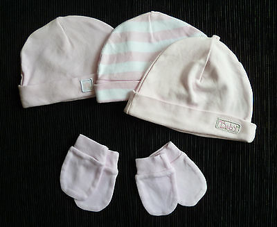 Baby clothes GIRL 0-3m 3 soft pink cotton hats 2 pairs pink mittens SEE MY SHOP!