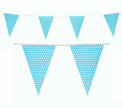 Baby Shower Bunting 10m - Its a Boy Light Blue Dots Bunting Flags