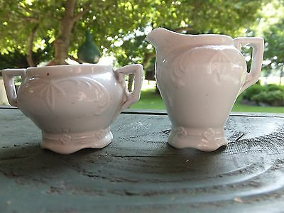ART DECO Styling - Childs Numbered White Porcelain Cream Pitcher and Sugar Bowl