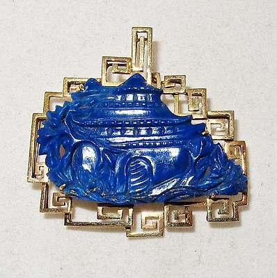 """1.7"""" Vintage 14K Gold Pendant / Brooch with Chinese Carved Lapis Lazuli  (13.5g)"""
