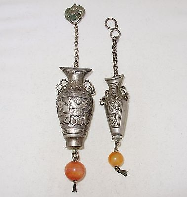 2 Antique Chinese Silver Needle Holder Pendants w/ Carnelian Agate Beads (46.8g)