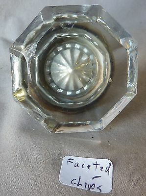 Door Knob (AsIs small chips) 8 point Polished BRASS & CRYSTAL GLASS Faceted Edge