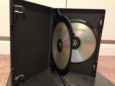25 Premium Black Standard 14mm Double DVD/CD Cases, holds 2 Discs, plus Bonus