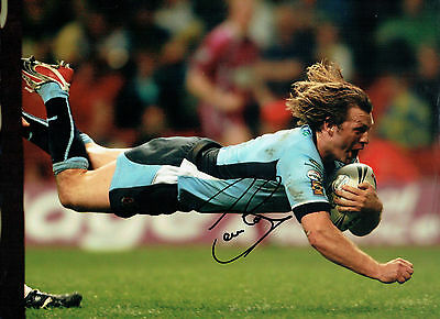 Sean LONG Signed Autograph 16x12 RARE RUGBY Try Photo AFTAL COA