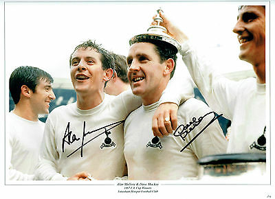 Alan MULLERY Dave MACKAY Double Signed Autograph 16x12 Spurs Photo AFTAL COA