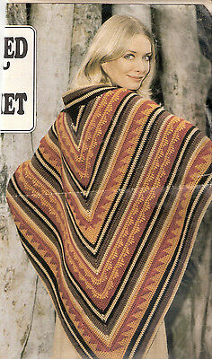 Dramatic Rustic Vintage Shawl Crochet Pattern - worked in Double Crochet