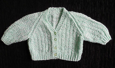 Baby clothes UNISEX BOY GIRL 0-3m aqua hand knitted cardigan SEE SHOP! COMBINE!