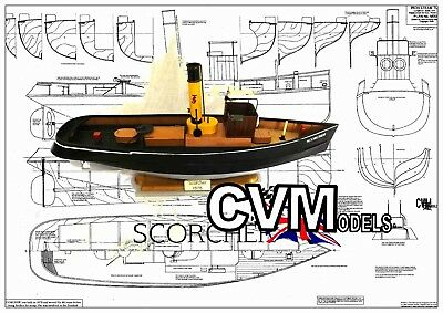 MODEL BOAT PROJECT PLAN/DRAWING for scale R/C Victorian Steam Tug 'Scorcher'