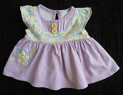 Baby clothes GIRL 0-3m George mauve/yellow brushed cotton dress SEE MY SHOP!!