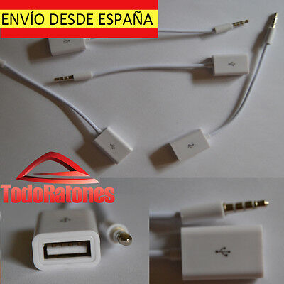 Cable de jack male to USB female Charger synchronization prolongador sonido car