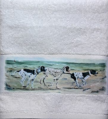 Pointer English Dog New Large Hand Guest Towel Sandra Coen Artist Print Painting